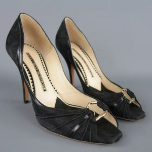 Jimmy Choo Boutique Black Suede Peep Toe Pump (40)